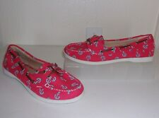 Old Navy Pinkish Red Blue Anchor Print Canvas Shoes Size 10 Nautical Loafer Flat