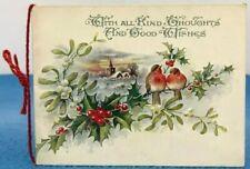 Vintage Christmas Card Robins Birds Slightly Embossed Hand Written Poem Inside