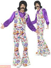 Mens Groovy Hippie Man Retro Hippy 60's Fancy Dress Costume XL