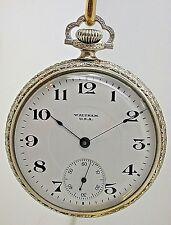 VINTAGE WALTHAM 16 SIZE POCKET WATCH STEM WIND & STEM SET MADE IN 1912  (11C)