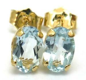SYJEWELLERY 9CT SOLID YELLOW GOLD OVAL NATURAL BLUE TOPAZ STUD EARRINGS E960