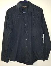 Men's Michael Kors Polkadot Long Sleeve Dress Shirt Navy Blue Size Large L