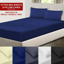 New Plain Extra Deep40cm /& Valance Fitted Bed Sheet-Oxford Pillow Cases/_All Size