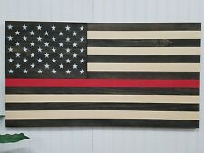 AMERICAN FLAG USA THIN RED LINE THEME WOODEN WALL MOUNT ART DECOR DECORATIVE