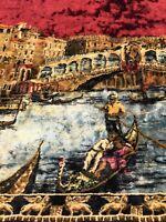 "Vintage Venice Italy Canal Gondola Rug Tapestry Wall Hanging Fringe 74"" x 48"""
