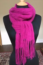 New With Tags Polo Ralph Lauren magenta cable knit wool  cashmere blend SCARF