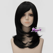 45cm Black Short Full Wig Basic Hair Lolita Anime Synthetic Cosplay Wig + Cap