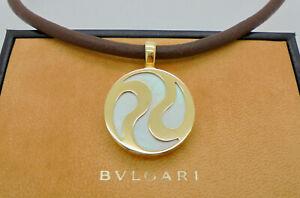 Authentic Bvlgari Bulgari Optical Pearl 18k Yellow Gold Steel Pendant Necklace