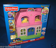 FISHER PRICE LITTLE PEOPLE HAPPY SOUNDS HOME PINK WITH MOM DAD & BABY NEW