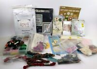 Lot Cross Stitch Kits Floss Patterns Organizer Aida Cloth Grab Bag Preowned P8