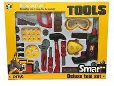 BOYS KIDS CHILDRENS ROLE PLAY BUILDER 22 PC DELUXE TOOL SET DRILL TOOLS IN BOX