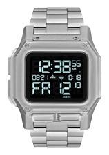 NWT Boxed Nixon A1268 000 Regulus SS Digital Watch All Silver LCD Display
