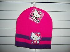 HELLO KITTY Girl's OSFM Knit Beanie Hat Pink With Purple Stripes NWT