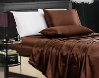 Chezmoi Collection 4-Piece Solid Brown Bridal Satin Sheet Set