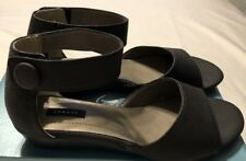 """""""Array"""" Black Low Wedge Heels Ankle Straps  Sz 7.5M Manmade  Material  NWOB"""