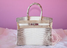 NEW HERMES 30 BLANC HIMALAYAN BIRKIN HIMALAYA WHITE CROCODILE BAG KELLY HANDBAG