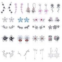 Elegant 925 Sterling Silver Flower CZ Ear Stud Earrings Women Girls Jewelry Gift