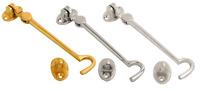 "Silent Cabin Hook & Eye Brass, Chrome or Satin Chrome Gate Hook and Eye 2"" - 12"""
