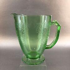 GREEN DEPRESSION Glass Water Pitcher Vaseline Uranium Scroll Flower Design