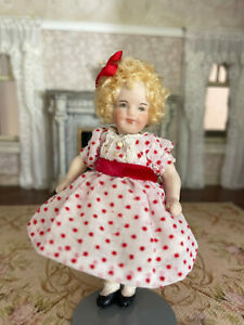 Vintage Miniature Dollhouse Artisan Porcelain Doll House Shirley Temple Girl