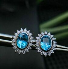 14k Solid White Gold 4.50ct Blue Topaz Stud Earrings