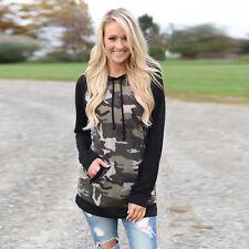 Camouflage Women Ladies Hoodie Sweatshirt Long Sleeve Hooded Pullover Tops Lot Black Sports Bras Size