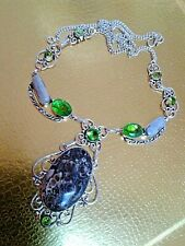 22 INCH  NECKLACE NATURAL STONE  TURTLE  FOSSIL MOLDAVITE PEARL HANDMADE.SILVER