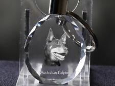 Australian Kelpie, Dog Crystal Round Keyring, High Quality, Crystal Animals Ca