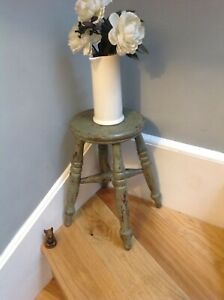 Victorian Turned Wood Cross Stretcher Stool  Green Distressed Paint 400mm