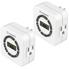 2 Pack Digital Timer Outlet, 7 Days Heavy Duty Programmable Light Timer