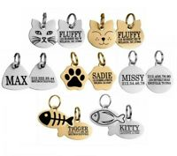 Personalized ID Tags Cat Dog Puppy Tag Custom Engraved Pet Name Brass Steel Gold