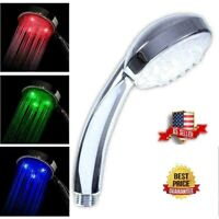 3 Color LED Auto Changing Fixed Shower Head Temperature Sensor Bath Sprinkler