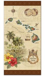 Hawaiian Large Beach Towel Aloha Hawaii Islands Map Vintage Style Beige Brown N