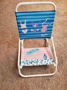 Vtg Barbie Fresh and Fun Mini Toddlers Beach Chair Fold Chair  Rare 2000 MATTEL