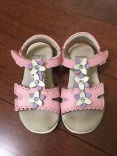 Pediped Flex Girls Sandals Shoes Leather Pink Purple Flowers Size 24/US 7.5