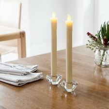 Set of 8 Battery Operated Warm White LED Wax Flameless Dinner Taper Candles