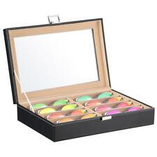 8 Slot Sunglass Organizer, PU Leather Eyeglasses Collector Display Case Storage