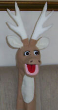 Large Moving Mouth Reindeer Puppet with antlers -Christmas programs, animal husb