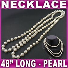 """48"""" Long Rope Bead Necklace Pearl Beaded Beads Strand Neon Retro 80's Wedding"""