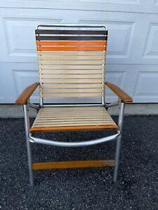 Vintage  Telescope Aluminum Folding Lawn Patio Arm Chair Beige Brown  Vinyl
