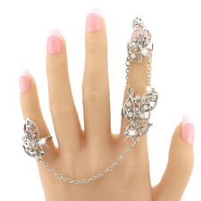 Adjustable Rhinestone Full Finger Rings Chain Knuckle Joint Ring Hollow Leaf