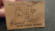 Vintage 1961 Greist Blind-Stitch Hemmer Instructions Fold-Out Pamphlet - sl