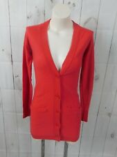 Wallace Solid Red Wool Cashmere Angora Buttoned Long Cardigan Sweater - Xs