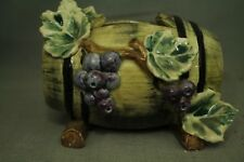vintage old art pottery planter wine barrel cluster grapes leaves vine vineyard