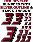 3-D RACING NUMBERS (3's) RED BEVELED Decal Sticker Sheet 1/8-1/10-1/12 RC NASCAR