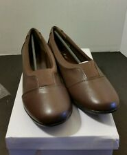 ANGEL STEPS WOMEN'S COMFORT SHOES FAUX LEATHER LOAFERS 10M ~BROWN  NEW
