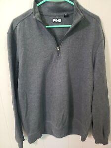 Ping Large L Gray Mens 1/4 Zip Long Sleeve Pullover Sweatshirt Golf