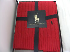 RALPH LAUREN Home RED CABEL KNIT THROW 100% COTTON  PONY LOGO 127x178cm BOXED