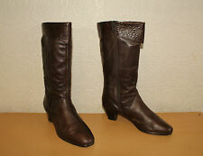 Vintage Brown Leather ARA Zip Mid Calf Mid Heel Riding Boots Size 7.5 / 41.5