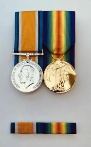 Full Size Set Of WW1 Medals British War Medal, Victory Medal And Pin Ribbon Bar